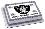 Oakland Raiders Edible Birthday Cake Topper OR Cupcake Topper, Decor