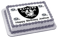 Oakland Raiders Edible Birthday Cake Topper OR Cupcake Topper, Decor