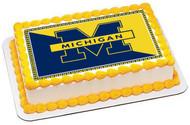 University of Michigan Edible Birthday Cake Topper OR Cupcake Topper, Decor