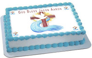 Holy Cross for Christening Edible Birthday Cake Topper OR Cupcake Topper, Decor