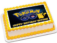 Pokemon Go Edible Birthday Cake Topper OR Cupcake Topper, Decor