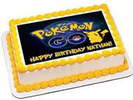 Pokemon Go Edible Birthday Cake Topper OR Cupcake Topper, Decor