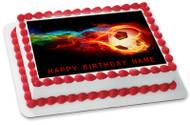 Flaming Soccer Ball Edible Birthday Cake Topper OR Cupcake Topper, Decor