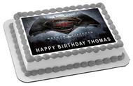 Batman v Superman Edible Birthday Cake Topper OR Cupcake Topper, Decor
