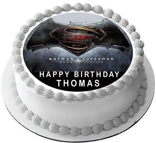 Batman V Superman Edible Birthday Cake Topper