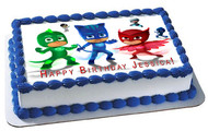 PJ MASKS 6 Edible Birthday Cake Topper OR Cupcake Topper, Decor