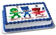 PJ MASKS 6 Edible Birthday Cake Topper OR Cupcake Topper, Decor