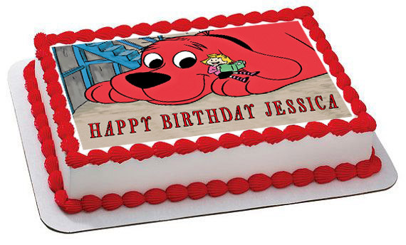 Terrific Clifford The Big Red Dog Edible Birthday Cake Topper Personalised Birthday Cards Petedlily Jamesorg