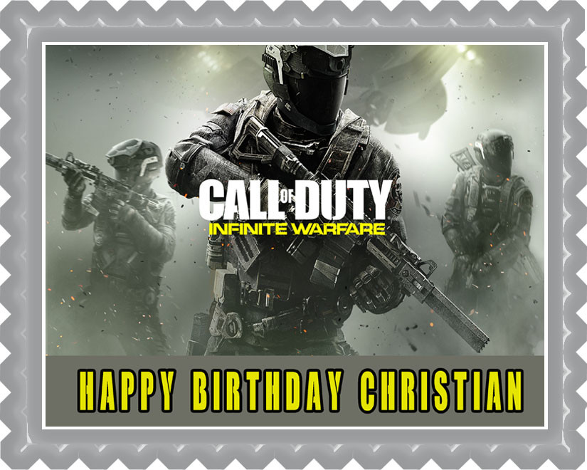 Surprising Call Of Duty Infinite Warfare Edible Birthday Cake Topper Funny Birthday Cards Online Inifodamsfinfo
