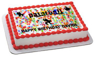 PAINTBALL Splatter Laser Tag Paint Party Edible Birthday Cake Topper OR Cupcake Topper, Decor