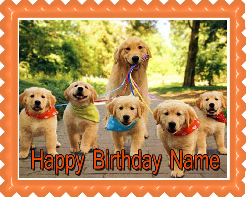 GOLDEN RETRIEVER Dog Puppy Edible Birthday Cake Topper