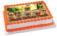 GOLDEN RETRIEVER Dog Puppy Edible Birthday Cake Topper OR Cupcake Topper, Decor