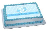 Baby Feet Foot Blue Edible Birthday Cake Topper OR Cupcake Topper, Decor