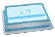 Baby Feet Foot Blue Edible Birthday Cake Topper OR Cupcake Topper, Decor