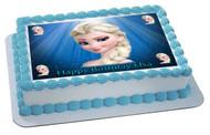 Frozen Elsa Face Edible  Edible Birthday Cake Topper OR Cupcake Topper, Decor