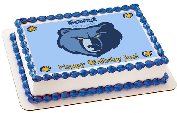 Excellent Memphis Grizzlies Edible Edible Birthday Cake Topper Funny Birthday Cards Online Overcheapnameinfo