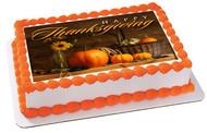 Thanksgiving Edible Birthday Cake Topper OR Cupcake Topper, Decor