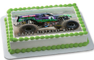 Grave Digger Monster Truck Edible Birthday Cake Topper OR Cupcake Topper, Decor