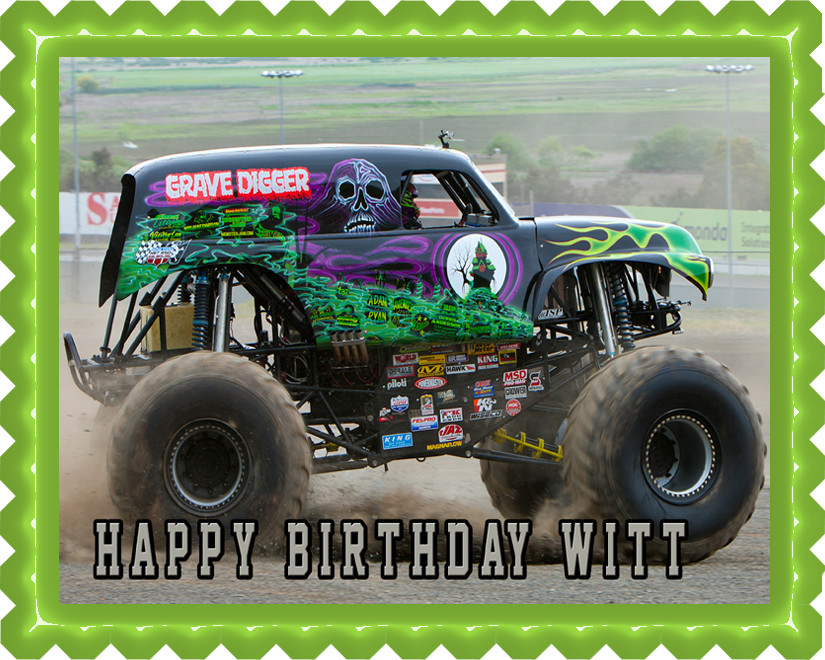 Brilliant Grave Digger Monster Truck Edible Birthday Cake Topper Funny Birthday Cards Online Alyptdamsfinfo