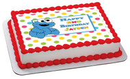 Cookie Monster Edible Birthday Cake Topper OR Cupcake Topper, Decor