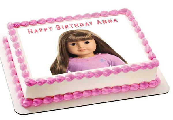 Pleasing American Girl 3 Edible Birthday Cake Topper Personalised Birthday Cards Paralily Jamesorg