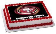 San Francisco 49ers (B) - Edible Cake Topper OR Cupcake Topper, Decor