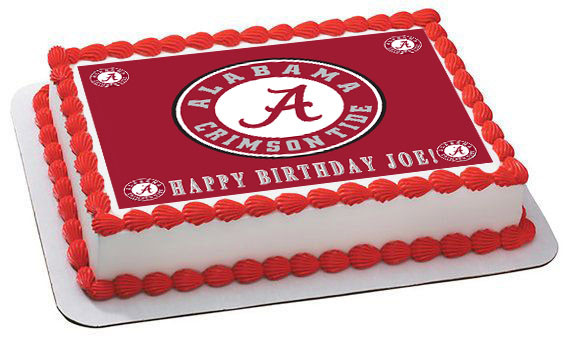 Pleasing Alabama Crimson Tide University Edible Birthday Cake Topper Personalised Birthday Cards Veneteletsinfo