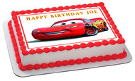 Disney Pixar Cars Lightning McQueen 1 Edible Birthday Cake Topper OR Cupcake Topper, Decor