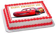 Disney Pixar Cars Lightning McQueen - Edible Cake Topper OR Cupcake Topper, Decor