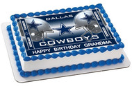 Dallas Cowboys 2 Edible Birthday Cake Topper OR Cupcake Topper, Decor