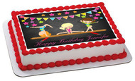 Gymnastics Girls Edible Birthday Cake Topper OR Cupcake Topper, Decor