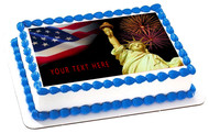 4th of July (Nr1) - Edible Cake Topper OR Cupcake Topper, Decor