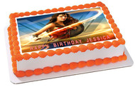 Wonder Woman 2 B Edible Birthday Cake Topper OR Cupcake Topper, Decor