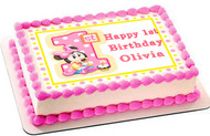 BABY MINNIE MOUSE 1st Birthday B Edible Birthday Cake Topper OR Cupcake Topper, Decor
