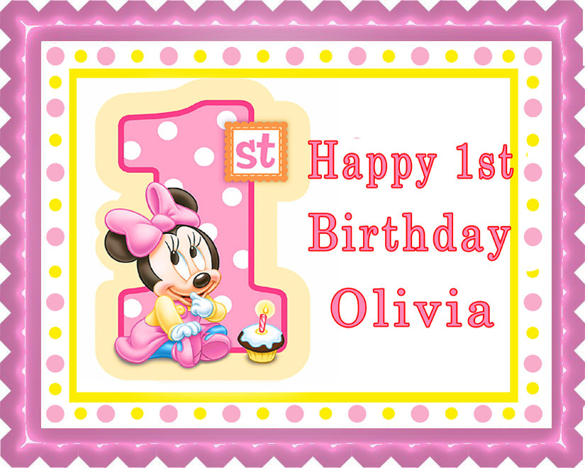 Enjoyable Baby Minnie Mouse 1St B Birthday Edible Birthday Cake Topper Birthday Cards Printable Benkemecafe Filternl