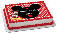 Mickey Mouse Inspired Edible Birthday Cake Topper OR Cupcake Topper, Decor