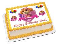 PAW PATROL SKYE 1 Edible Birthday Cake Topper OR Cupcake Topper, Decor