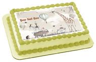Woodland Animals with Giraffe Zebra - Edible Cake Topper OR Cupcake Topper, Decor