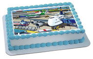 Airport With Planes - Edible Cake Topper OR Cupcake Topper, Decor