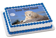 White Lion - Edible Cake Topper OR Cupcake Topper, Decor