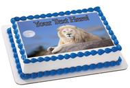 White Lion - Edible Cake Topper OR Cupcake Topper, Decor