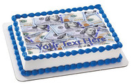 100 dollar bills C - Edible Cake Topper OR Cupcake Topper, Decor