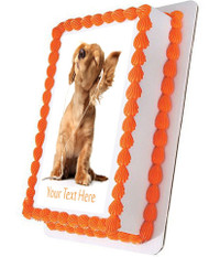 Young puppy listening to music - Edible Cake Topper OR Cupcake Topper, Decor