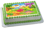 Cute dinosaurs in prehistoric scene - Edible Cake Topper OR Cupcake Topper, Decor