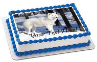 White wolf - Edible Cake Topper OR Cupcake Topper, Decor