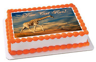 Giraffe on Sand Dune - Edible Cake Topper OR Cupcake Topper, Decor