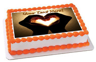 Hands with heart image - Edible Cake Topper OR Cupcake Topper, Decor