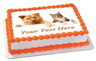 Dog and Cat - Edible Cake Topper OR Cupcake Topper, Decor
