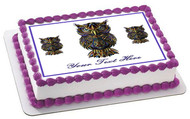 Owl drawn - Edible Cake Topper OR Cupcake Topper, Decor
