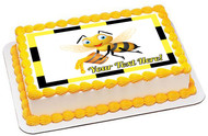 Bee Holding Honey Bucket - Edible Cake Topper OR Cupcake Topper, Decor